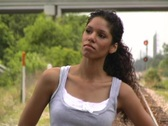 Stock Video Footage of Beautiful Latina Walks on Train Track