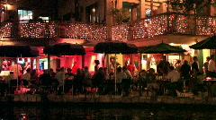 Stock Video Footage of San Antonio riverwalk close night M HD