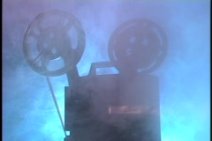 Film projector in smoke - stock footage
