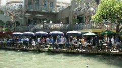 Stock Video Footage of SAT Riverwalk  tourists boat M HD