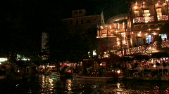 San Antonio riverwalk restaurants pan Right HD night M HD Stock Footage