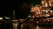 Stock Video Footage of San Antonio riverwalk restaurants pan Right HD night M HD