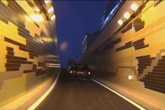 Driving on tunnel in city Stock Footage