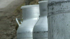 Milk jars - stock footage