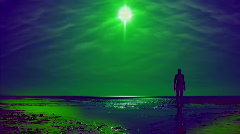 Abstract clip of a silhouette statue on the beach HD 1 Stock Footage
