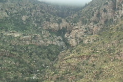 Long waterfall trail on a mountain side Stock Footage