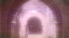 Stock Video Footage of Looking through old arched church doorway with foggy eerie effects. HD 1080i