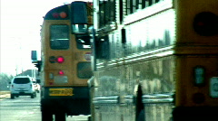 school buses stylized - stock footage