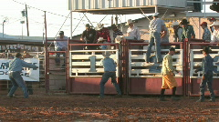 Bull ride 8 seconds with clown M HD Stock Footage