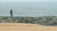 Fisherman on Jersey Shore Stock Footage