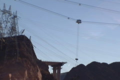 Hoover Dam Bypass Bridge Arizona side crane lowering first truss piece 2008 Stock Footage