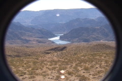 A spyglass view of the desert above the Colorado River Stock Footage