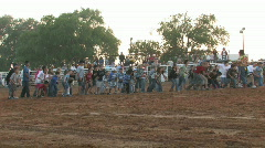 Kids at rodeo calf chase M HD Stock Footage