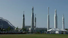 Rocket garden at Kennedy Space Center Stock Footage