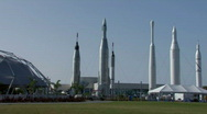 Stock Video Footage of Rocket garden at Kennedy Space Center