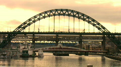 Bridges over the River Tyne between Newcastle and Gateshead England - stock footage