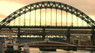 Stock Video Footage of Bridges over the River Tyne between Newcastle and Gateshead England