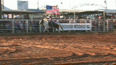 Rodeo cowgirl USA Flag horse M HD - stock footage