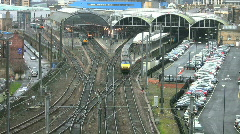 Electric passenger train leaving Newcastle upon Tyne railway station. England Stock Footage