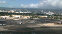 Landing at Honolulu airport Hawaii aircraft passenger M HD Stock Footage