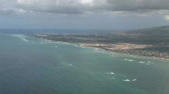 Airplane approach Honolulu HI ocean M HD Stock Footage