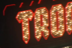 Tropicana lit sign on the strip Stock Footage