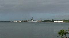 Missouri Arizona Memorial boat SND M HD Stock Footage