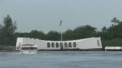 USS Arizona mem close boat away Pearl Harbor Hawaii M HD Stock Footage