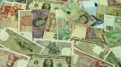 World money dolly Stock Footage