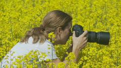 Wildlife photographer close Stock Footage