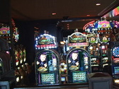 Panorama of the inside of a casino Stock Footage