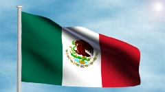 Mexican flag - digital animation Stock Footage