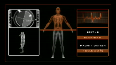 X-ray scan of man with medical background - Orange Stock Footage