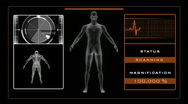 Stock Video Footage of X-ray scan of man with medical background - Orange