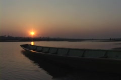 Laos: Sunset over the Mekong river Stock Footage