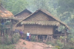 Laos: Thatched houses in remote village Stock Footage