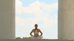 Yoga in temple Stock Footage