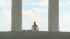 Yoga in temple wide Stock Footage