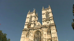 Tall towers of Westminster Abbey in London England - stock footage