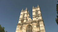 Stock Video Footage of Tall towers of Westminster Abbey in London England