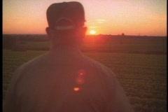 Stock Video Footage of farmer walks in field