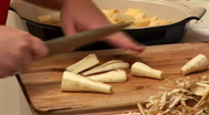 Stock Video Footage of slicing parsnip