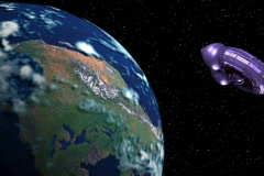 Mothership Orbit Earth Wide Stock Footage