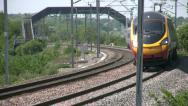 Stock Video Footage of Pendolino tilting passenger train on the West Coast mainline England