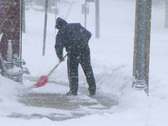 Stock Video Footage of Man Shoveling Snow