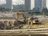 Excavator and trucks  Stock Footage