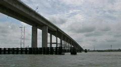 Bridge boats low angle fast TL M HD Stock Footage