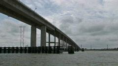 Bridge boats low angle M HD Stock Footage