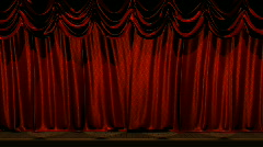 Red Satin Brocade Curtains Stock Footage