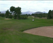 Golf fairway and caddy 2 - stock footage